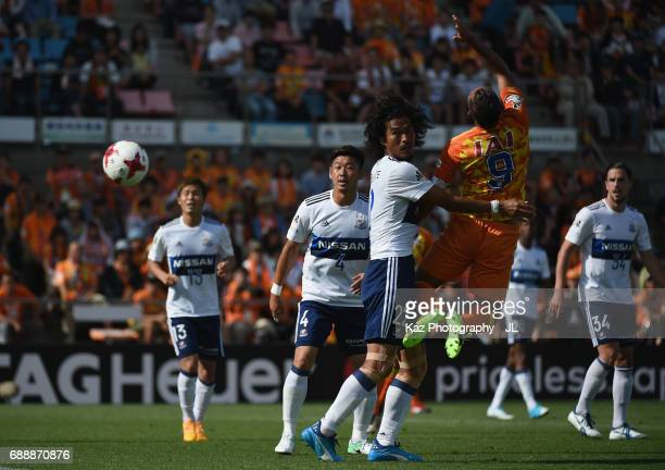 Chong Tese of Shimizu SPulse and Yuji Nakazawa of Yokohama FMarinos compete for the ball during the JLeague J1 match between Shimizu SPulse and...