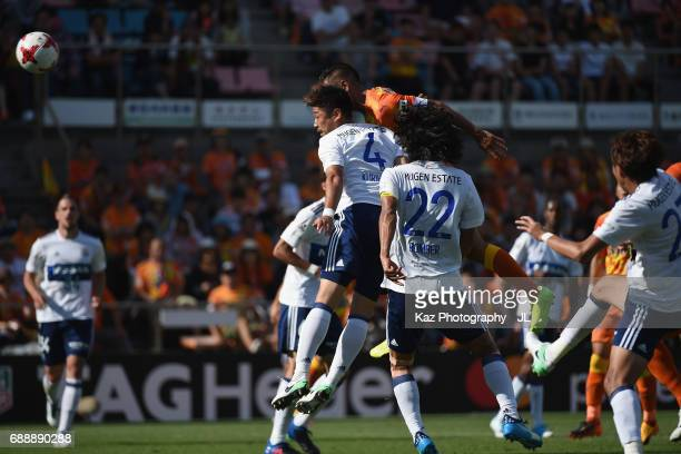 Chong Tese of Shimizu SPulse heads the ball during the JLeague J1 match between Shimizu SPulse and Yokohama FMarinos at IAI Stadium Nihondaira on May...