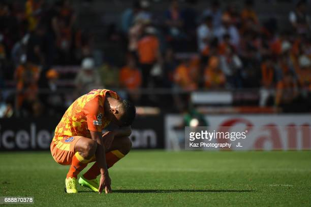Chong Tese of Shimizu SPulse shows dejection after his side's 13 defeat in the JLeague J1 match between Shimizu SPulse and Yokohama FMarinos at IAI...
