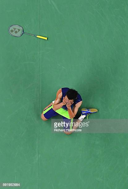 Chong Wei Lee of Malaysia celebrates after defeating Dan Lin of China during the Men's Singles Badminton Semifinal against on Day 14 of the Rio 2016...