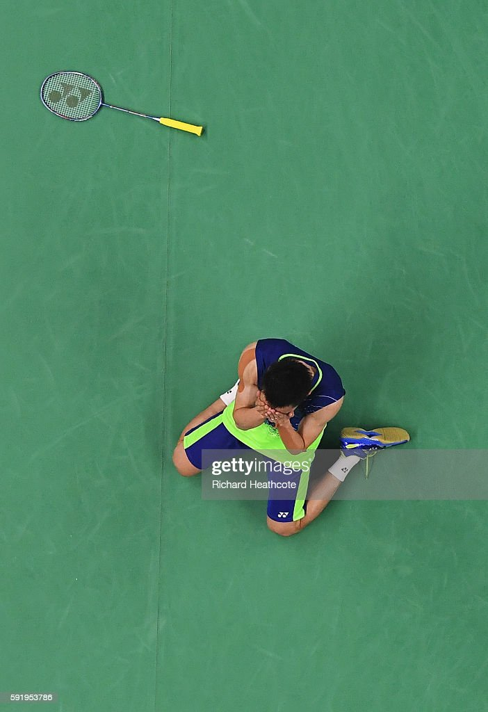 Chong Wei Lee of Malaysia celebrates after defeating Dan Lin of China during the Men's Singles Badminton Semifinal on Day 14 of the Rio 2016 Olympic...
