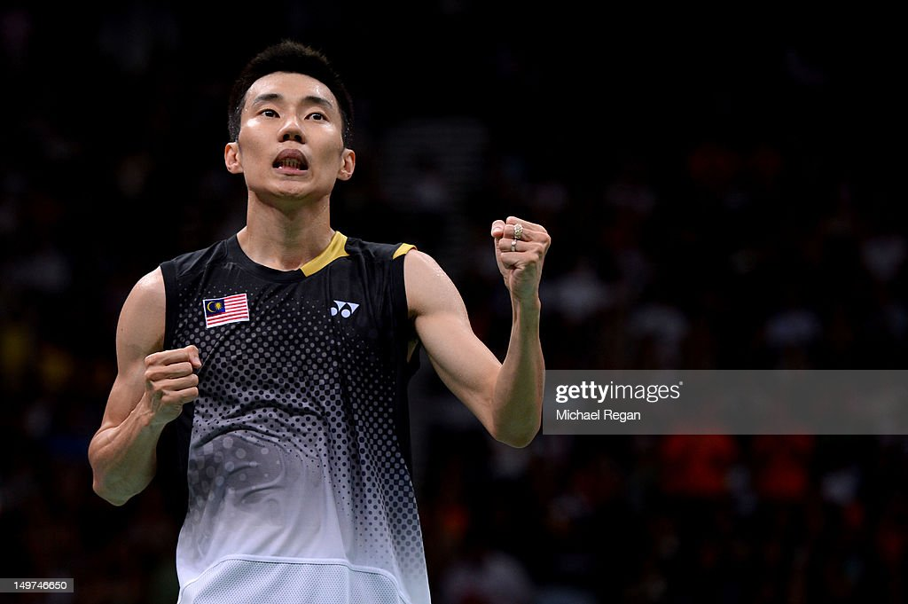 Chong Wei Lee of Malaysia celebrates winning the Men's Singles Badminton Semi-Final against Long Chen of China on Day 7 of the London 2012 Olympic Games at Wembley Arena on August 3, 2012 in London, England.