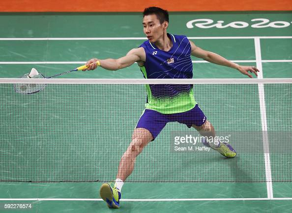Chong Wei Lee of Malaysia competes against Long Chen of China during the Men's Singles Badminton Gold Medal match on Day 15 of the Rio 2016 Olympic...