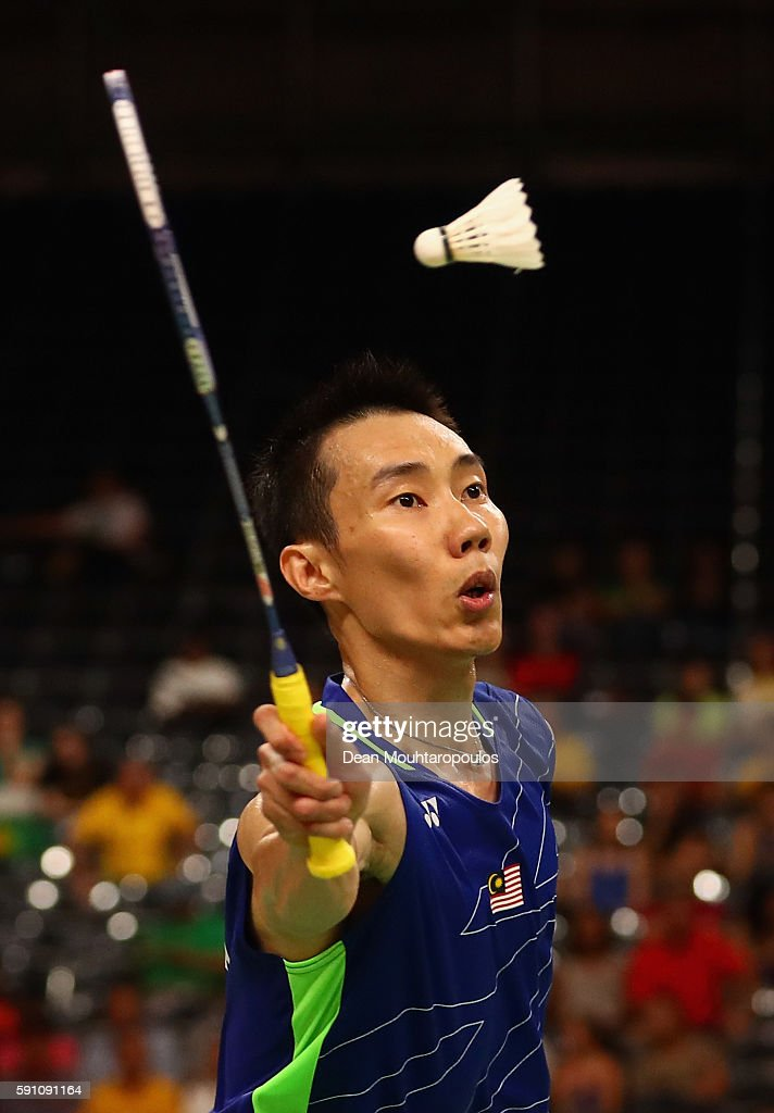 Chong Wei Lee of Malaysia competes against Tien Chen Chou of Chinese Taipei during the Men's Singles Quarterfinal Badminton match Day 12 of the Rio...