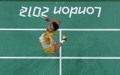 Chong Wei Lee of Malaysia competes in his Men's Singles Badminton Gold Medal match against Lin Dan of China on Day 9 of the London 2012 Olympic Games...