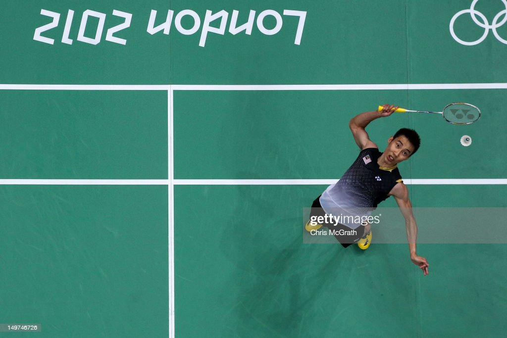 Chong Wei Lee of Malaysia competes in the Men's Singles Badminton Semi-Final against Long Chen of China on Day 7 of the London 2012 Olympic Games at Wembley Arena on August 3, 2012 in London, England.