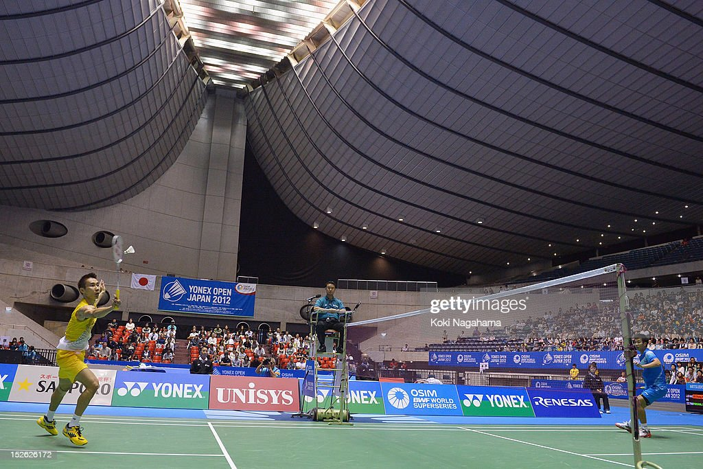 Chong Wei Lee of Malaysia competes in the Men's singles final match against Boonsak Ponsana of Thailand during day five of the Yonex Open Japan 2012 at Yoyogi Gymnasium on September 23, 2012 in Tokyo, Japan.