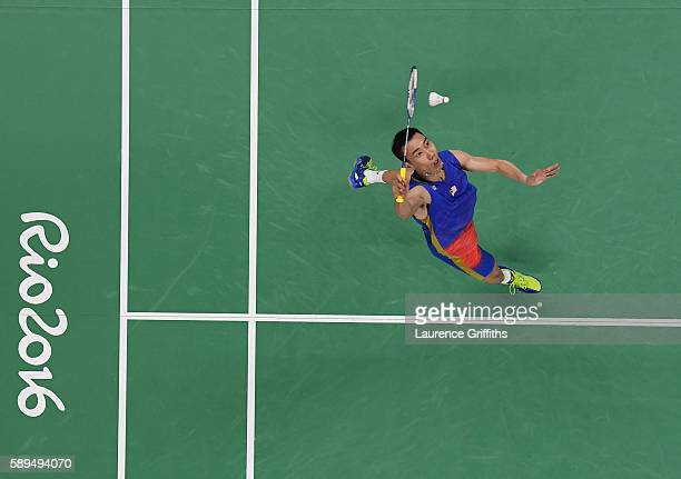 Chong Wei Lee of Malaysia in action during his Badminton Mens Singles match against Liang Derek Wong Zi of Singapore on Day 9 of the Rio 2016 Olympic...