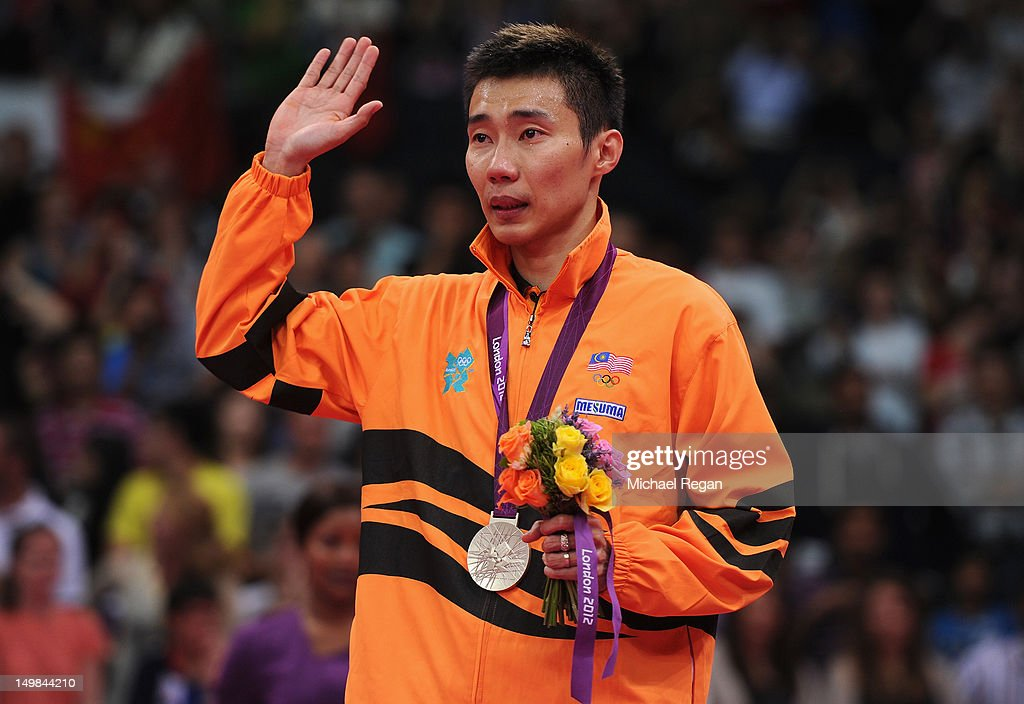Chong Wei Lee of Malaysia stands with his Silver medal on the podium following the Men's Singles Badminton Gold Medal match on Day 9 of the London...