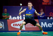 Chong Wei of Malaysia in action during Day Two at the MetLife BWF World Superseries Premier Yonex Denmark Open Badminton at Odense Idratshal on...