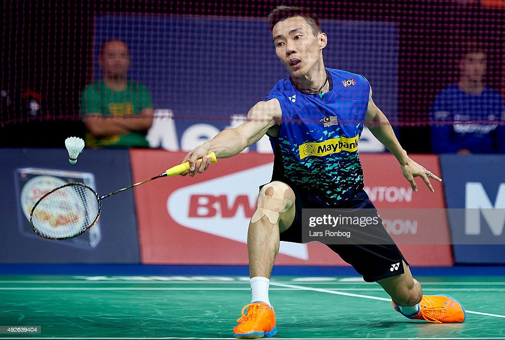 LEE Chong Wei of Malaysia in action during Day Two at the MetLife BWF World Superseries Premier Yonex Denmark Open Badminton at Odense Idratshal on October 14, 2015 in Odense, Denmark.