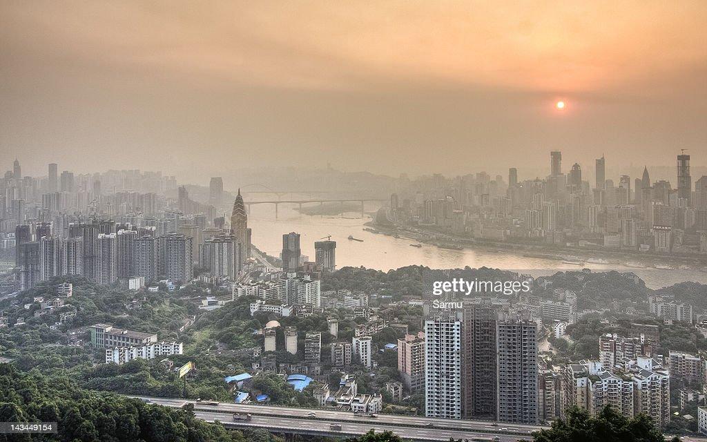 Chongqing from Yi Ke Shu Observation : Stock Photo