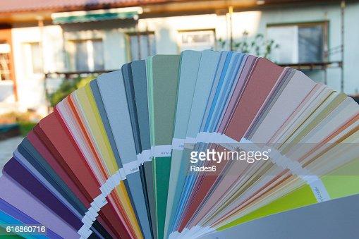 Choosing a new color of the facade. : Stock Photo