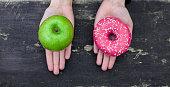 Choosing between apple and doughnut