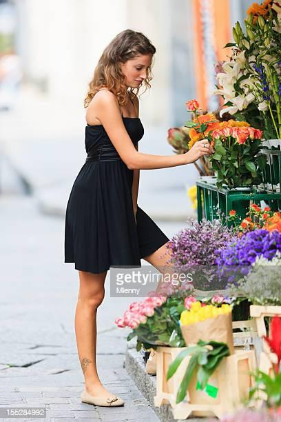 Choosing Flowers Young Woman Florist Summer Portrait