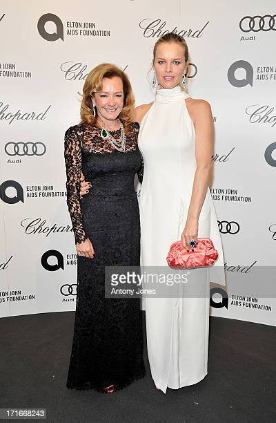Chopard CoPresident and Artistic Director Caroline Scheufele and Eva Herzigova attend the 15th Annual White Tie and Tiara Ball to Benefit Elton John...