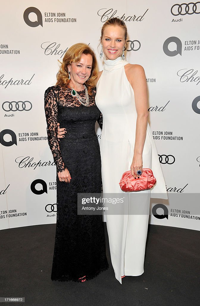 Chopard Co-President and Artistic Director Caroline Scheufele (L) and <a gi-track='captionPersonalityLinkClicked' href=/galleries/search?phrase=Eva+Herzigova&family=editorial&specificpeople=156428 ng-click='$event.stopPropagation()'>Eva Herzigova</a> attend the 15th Annual White Tie and Tiara Ball to Benefit Elton John AIDS Foundation in Association with Chopard at Woodside on June 27, 2013 in Windsor, England. No sales to online/digital media worldwide until the 14th of July. No sales before July 14th, 2013 in UK, Spain, Switzerland, Mexico, Dubai, Russia, Serbia, Bulgaria, Turkey, Argentina, Chile, Peru, Ecuador, Colombia, Venezuela, Puerto Rico, Dominican Republic, Greece, Canada, Thailand, Indonesia, Morocco, Malaysia, India, Pakistan, Nigeria. All pictures are for editorial use only and mention of 'Chopard' and 'The Elton John Aids Foundation' are compulsory. No sales ever to Ok, Now, Closer, Reveal, Heat, Look or Grazia magazines in the United Kingdom. No sales ever to any jewellers or watchmakers other than Chopard