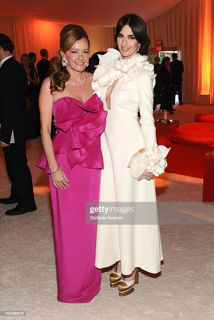 Chopard Co-President and Artistic Director Caroline Scheufele and actress Paz Vega attend Chopard at 21st Annual Elton John AIDS Foundation Academy Awards Viewing Party at West Hollywood Park on February 24, 2013 in West Hollywood, California.