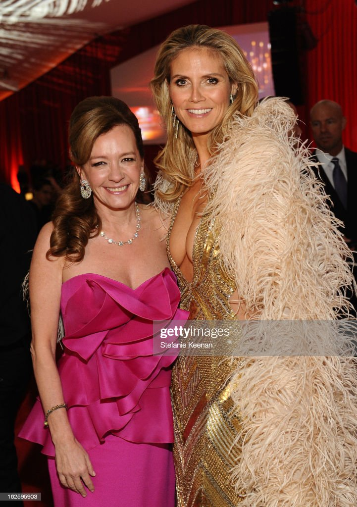 Chopard Co-President and Artistic Director Caroline Scheufele and model Heidi Klum attend Chopard at 21st Annual Elton John AIDS Foundation Academy Awards Viewing Party at West Hollywood Park on February 24, 2013 in West Hollywood, California.