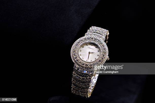 Chopard watch is displayed during Baselworld on March 16 2016 in Basel Switzerland Held annually Baselworld is the most important watch and jewellery...