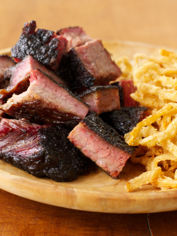 Chopped barbecued brisket with deep fried onion rings