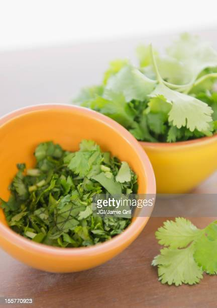 Chopped cilantro in bowl