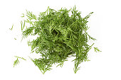 Chopped fresh dill isolated on white background