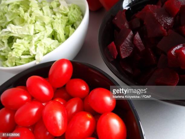 Chopped fresh vegetable in bowl