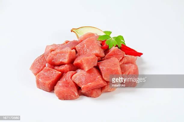 Chopped pork meat for goulash