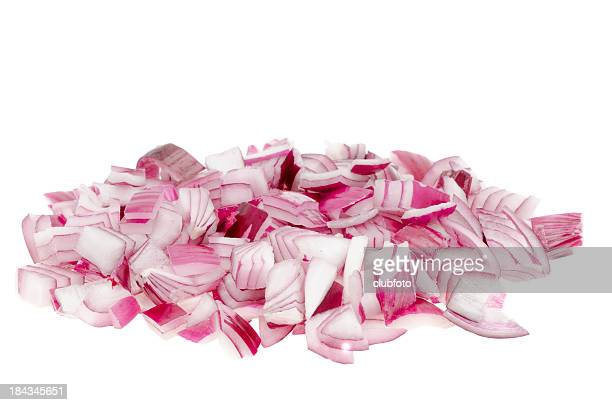 Chopped red onion over a white background