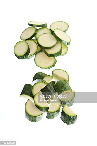 Chopped & sliced courgette.