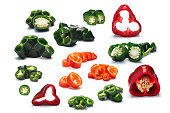 Chopped chile peppers (Jalapeno, Serrano, Hot Wax, Ancho, Poblano). Clipping paths for each pepper, shadows separated