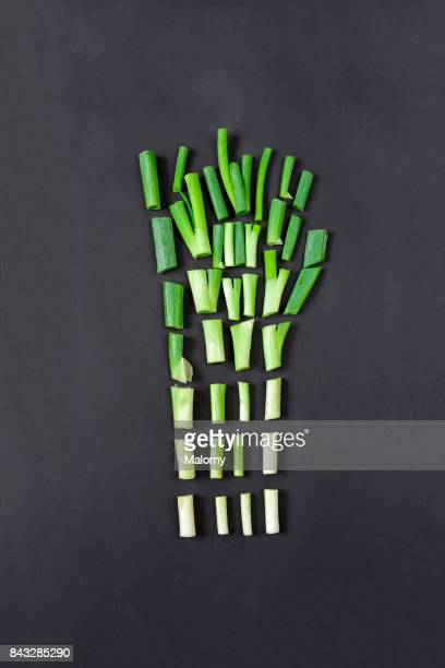 Chopped spring onions on black background. Greenery