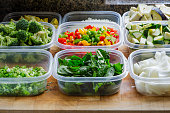 Chopped vegetables for cooking or storage in plastic   containers
