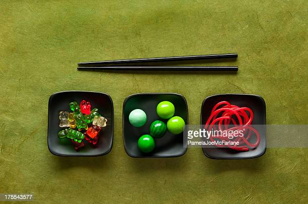Chopstick Challenge – Gummy Bears, Gumballs & Red Licorice