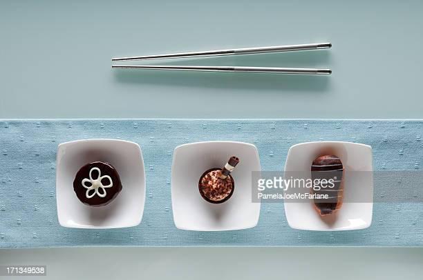 Chopstick défi, Brownie, le Tiramisu & Éclair à la crème