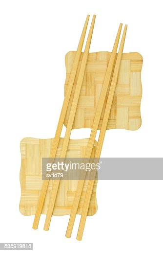 Chopsticks on the yellow bamboo stand. : Stock Photo