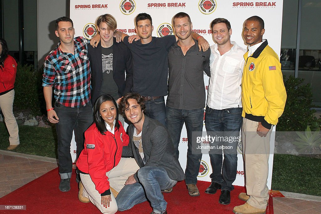Chord Overstreet, Parker Young, Glen Powell, Diego Boneta and City Year Los Angeles AmeriCorps members attend the City Year Los Angeles' Spring Break: Destination Education at Sony Pictures Studios on April 20, 2013 in Culver City, California.