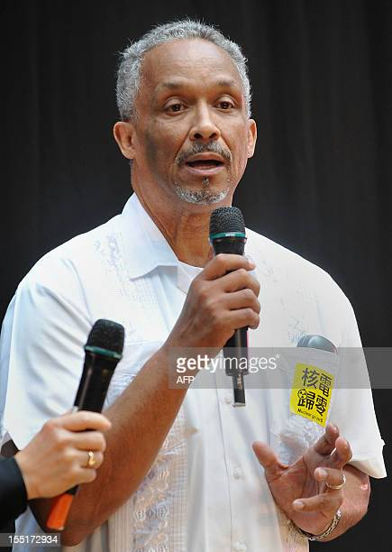 US choreographer and artistic director Eleo Pomare speaks during a press conference for the Tsai Juiyueh Dance Festival in Taipei on November 2 2012...