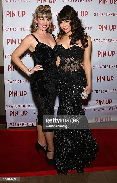 Choreographer Angela DiCostanzo and model Claire Sinclair arrive at the anniversary celebration of the show 'Pin Up' at the Stratosphere Casino Hotel...