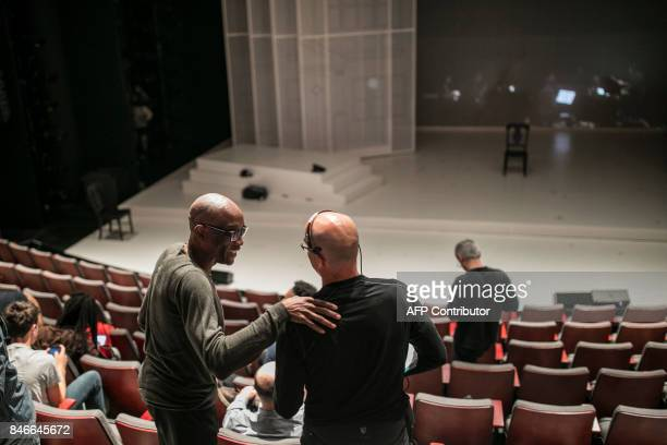 Choreographer Bill T Jones and Assistant Director Seth Hoff work during a dress rehearsal for the production of 'We Shall Not Be Moved' in...