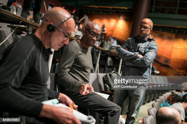 Choreographer Bill T Jones works with Assistant Director Seth Hoff and Composer Daniel Bernard Roumain during a dress rehearsal for the production of...