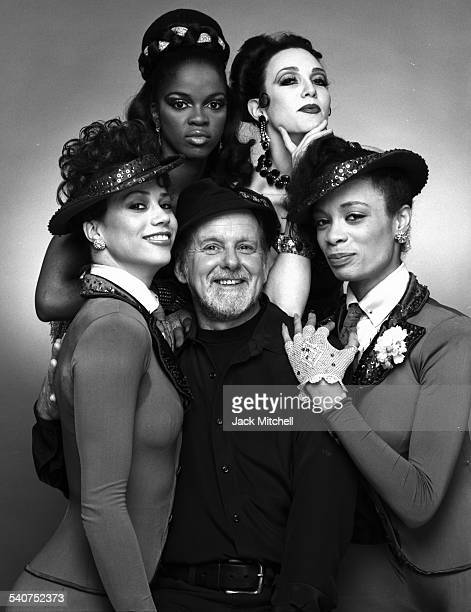 Choreographer Bob Fosse and his dancers from the Broadway musical 'Sweet Charity' photographed in May 1986