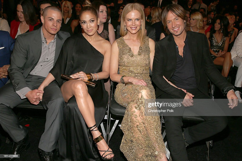 Choreographer Casper Smart, singer Jennifer Lopez, actress Nicole Kidman and singer Keith Urban attend the 55th Annual GRAMMY Awards at STAPLES Center on February 10, 2013 in Los Angeles, California.