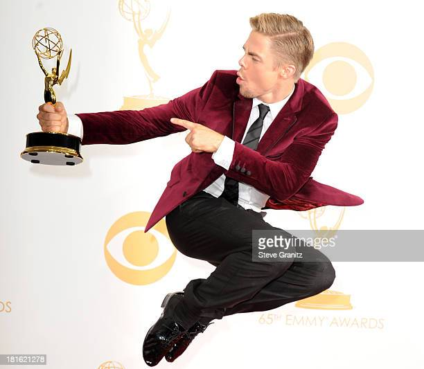 Choreographer Derek Hough poses in the press room during the 65th Annual Primetime Emmy Awards held at Nokia Theatre LA Live on September 22 2013 in...