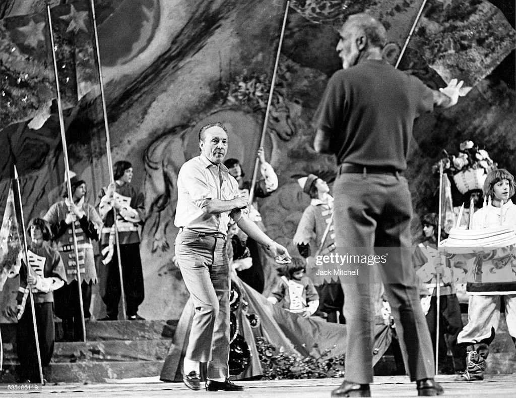 Choreographer <a gi-track='captionPersonalityLinkClicked' href=/galleries/search?phrase=George+Balanchine&family=editorial&specificpeople=206890 ng-click='$event.stopPropagation()'>George Balanchine</a> leading a rehearsal.