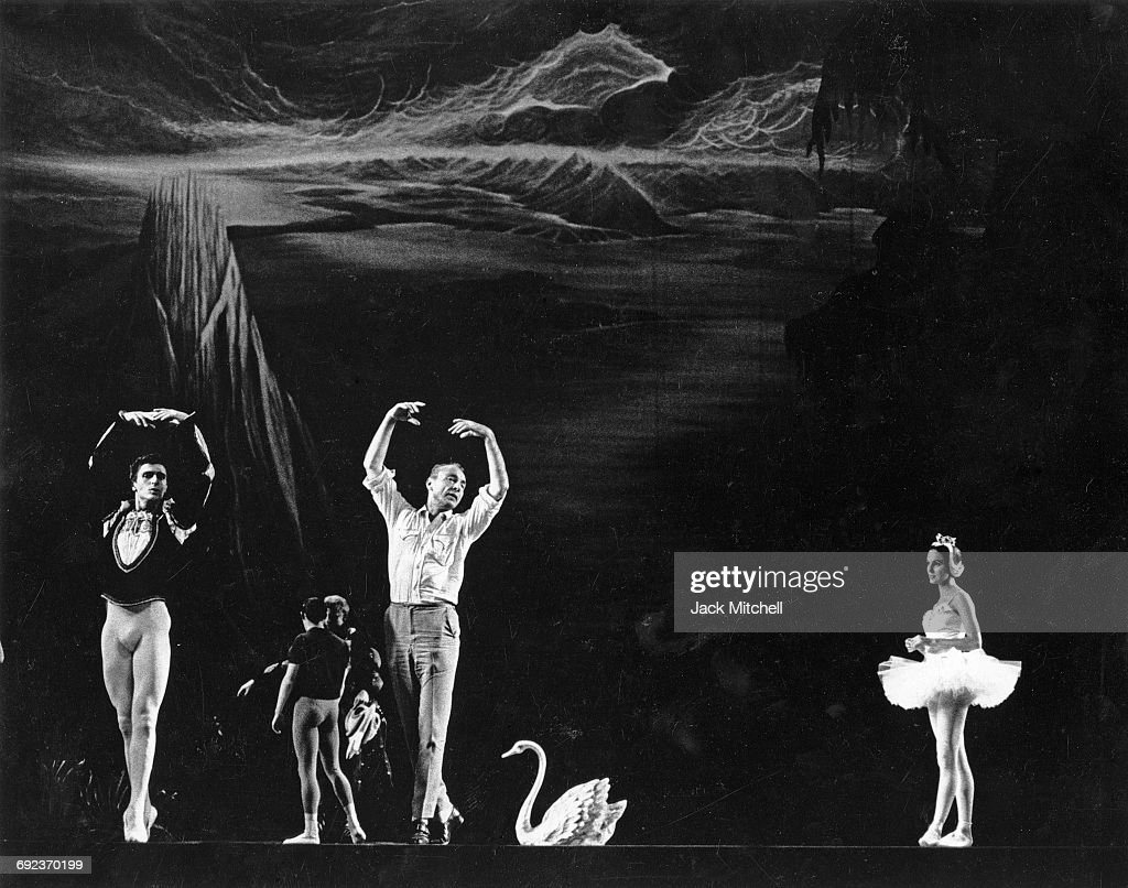 Choreographer George Balanchine rehearsing Edward Villella and Patricia McBride in Swan Lake Act II, in September 1964.