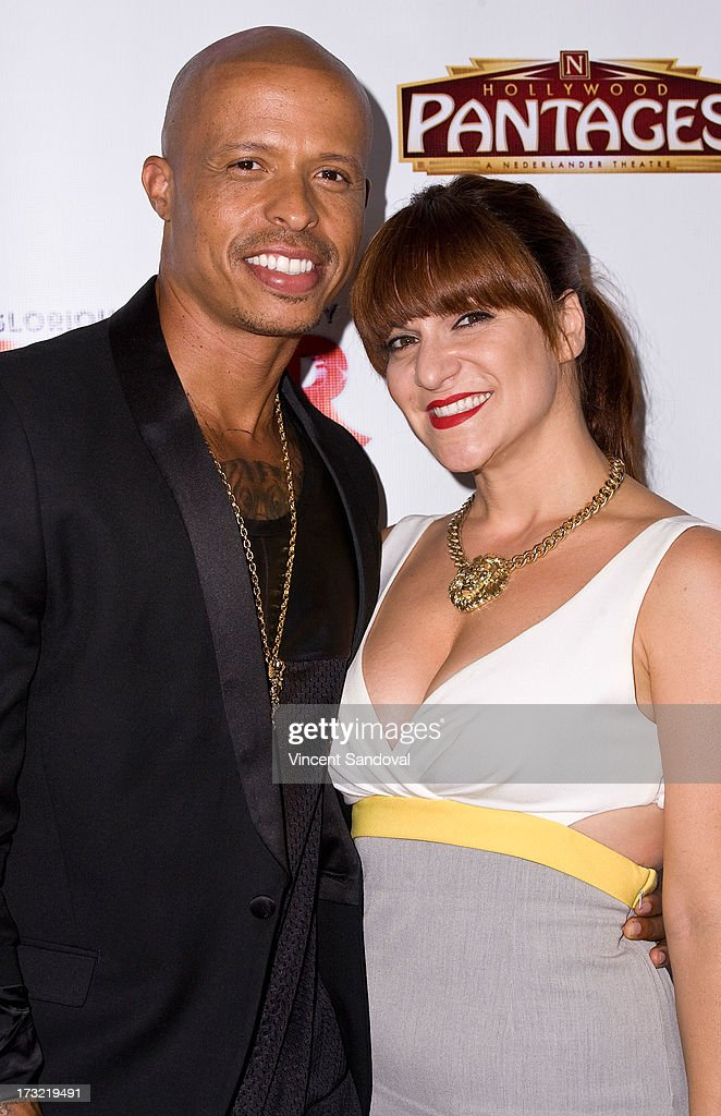 Choreographer Jamal Sims and singer <a gi-track='captionPersonalityLinkClicked' href=/galleries/search?phrase=Shoshana+Bean&family=editorial&specificpeople=2123338 ng-click='$event.stopPropagation()'>Shoshana Bean</a> attend the Los Angeles opening night of 'Sister Act' at the Pantages Theatre on July 9, 2013 in Hollywood, California.