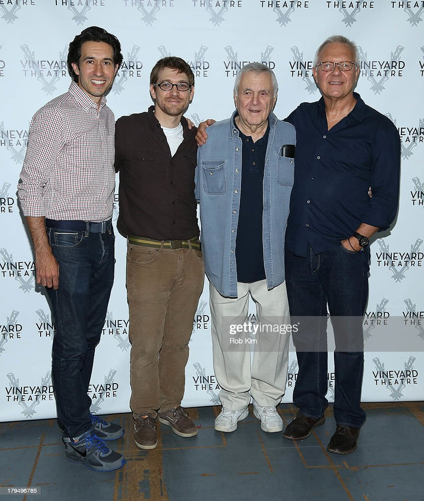 Choreographer Josh Rhodes, playwright Greg Pierce, composer <a gi-track='captionPersonalityLinkClicked' href=/galleries/search?phrase=John+Kander&family=editorial&specificpeople=631079 ng-click='$event.stopPropagation()'>John Kander</a> and theatre director Walter Bobbie attend 'The Landing' Cast Photo Call at Roundabout Theatre Company Rehearsal Studios on September 4, 2013 in New York City.