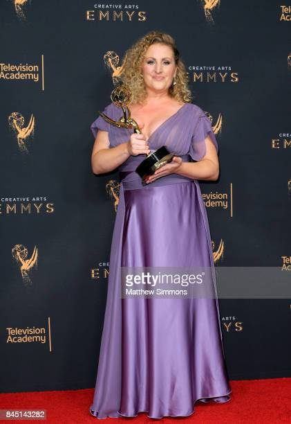 Choreographer Mandy Moore poses in the pressroom during the 2017 Creative Arts Emmy Awards at Microsoft Theater on September 9 2017 in Los Angeles...
